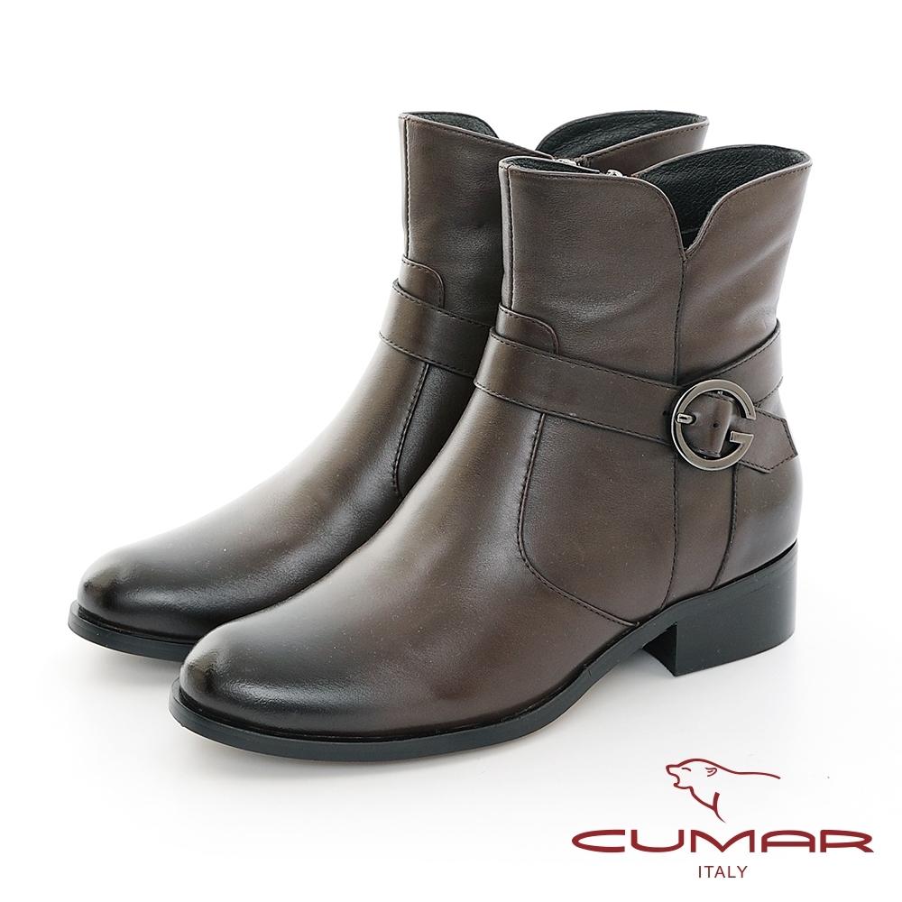 【CUMAR】中性之美簡約感扣環機車工程短靴-咖啡色