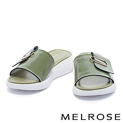 拖鞋 MELROSE 簡約舒適質感迴紋造型飾釦厚底休閒拖鞋-綠