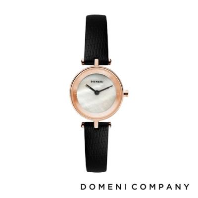 DOMENI COMPANY 經典迷你白珍珠錶盤系列 義大利小牛皮錶帶 玫瑰金錶框 -白/22mm