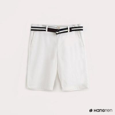Hang Ten-男裝腰帶純色休閒短褲-白