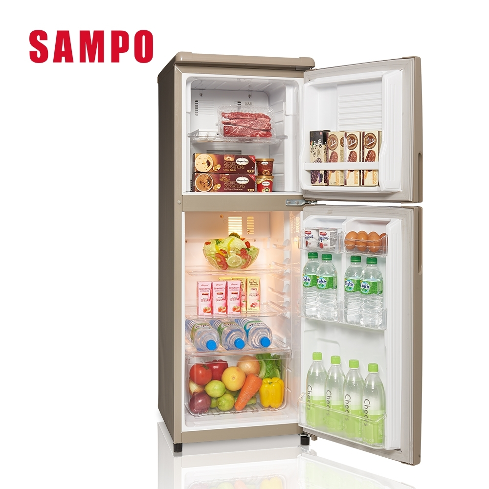 【福利品】SAMPO聲寶 140L 1級定頻2門電冰箱 SR-C14Q(Y9) 晶鑽金