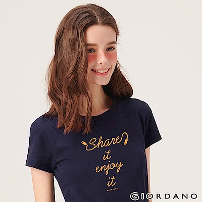 GIORDANO 女裝英文標語印花短袖T恤-46 標誌海軍藍
