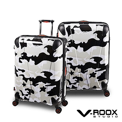 V-ROOX AXIS  28吋 黑白迷彩 原創設計 防爆拉鏈可擴充行李箱