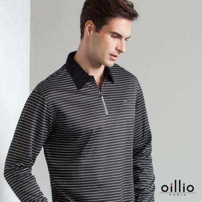 oillio歐洲貴族 長袖超柔防皺POLO 休閒商務紳士皆宜 特色拉鍊 黑色