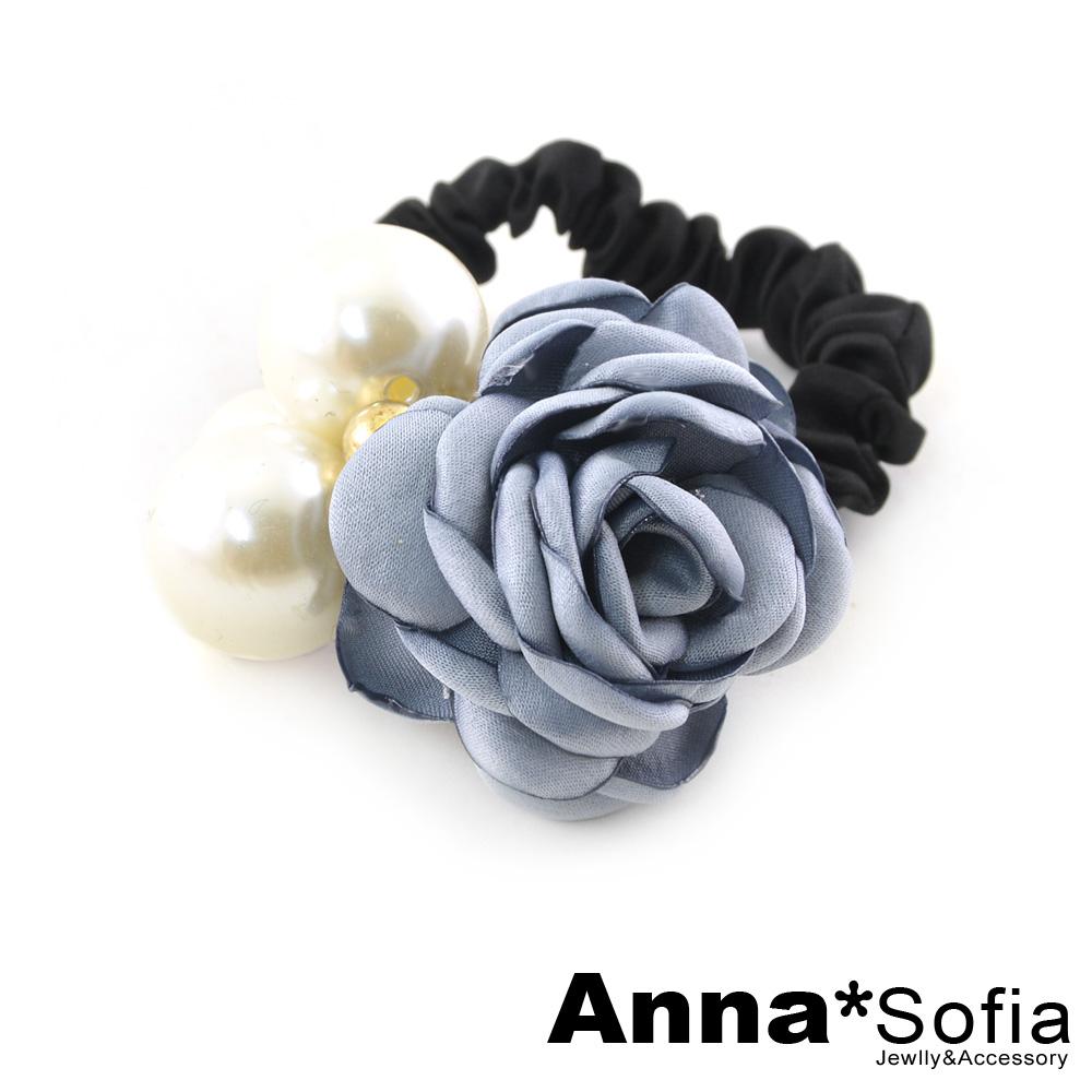 AnnaSofia 層綻茶花款 純手工彈性髮束髮圈髮繩(灰藍系)