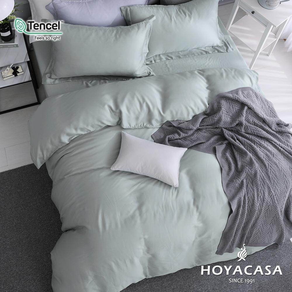 【HOYACASA】法式簡約300織抗菌天絲兩用被床包組-(雙人/加大任選)+贈兩枕 (原野綠)