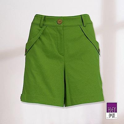 ILEY伊蕾 光澤感翻摺造型短褲(藍/綠)