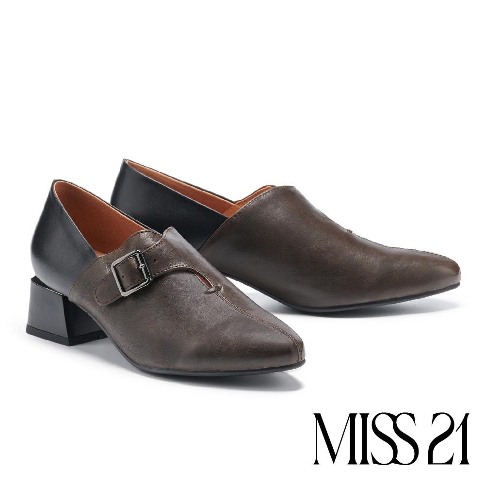 高跟鞋 MISS 21 個性復古品味撞色異材質尖頭高跟鞋-灰