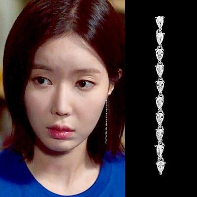 梨花HaNA 韓國S925銀針我的ID是江南美人超長鋯鑽耳環