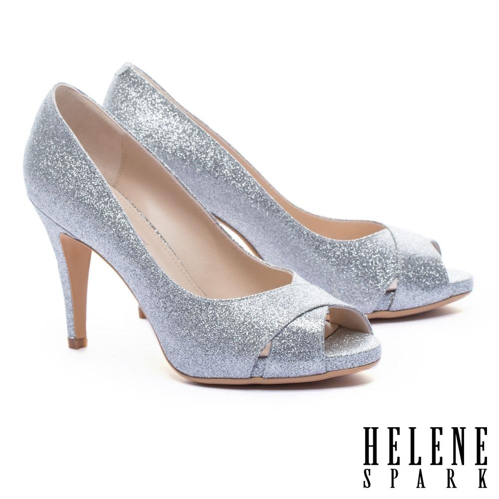 高跟鞋 HELENE SPARK 耀眼金蔥交叉魚口美型高跟鞋-銀