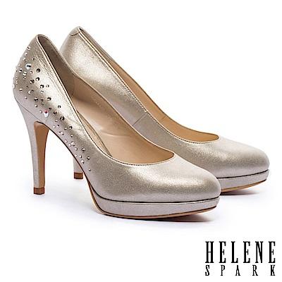 高跟鞋 HELENE SPARK 高雅奢華閃耀水鑽羊麂皮美型高跟鞋-金