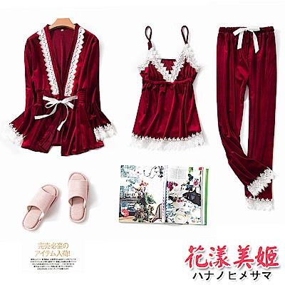 睡衣 居家三件組 長袖綁帶睡袍 吊帶睡衣 金絲絨睡衣褲(棗紅) 花漾美姬