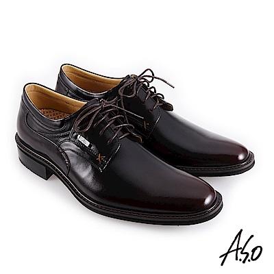 A.S.O職場通勤 霸足氣墊防潑水綁帶紳士鞋-酒紅