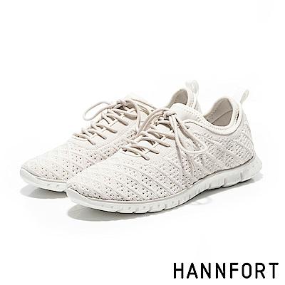 HANNFORT ZERO GRAVITY編織菱格紋氣墊運動鞋-女-法式米