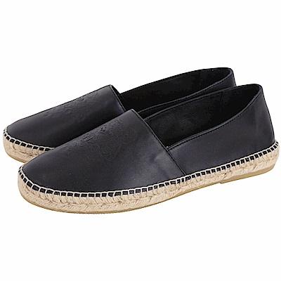 KENZO Tiger 黑色虎頭皮革草編平底鞋(男款/薄版)
