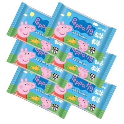 【博寶兒】佩佩豬/粉紅豬小妹 加厚型超純水濕巾 80抽/(6入)