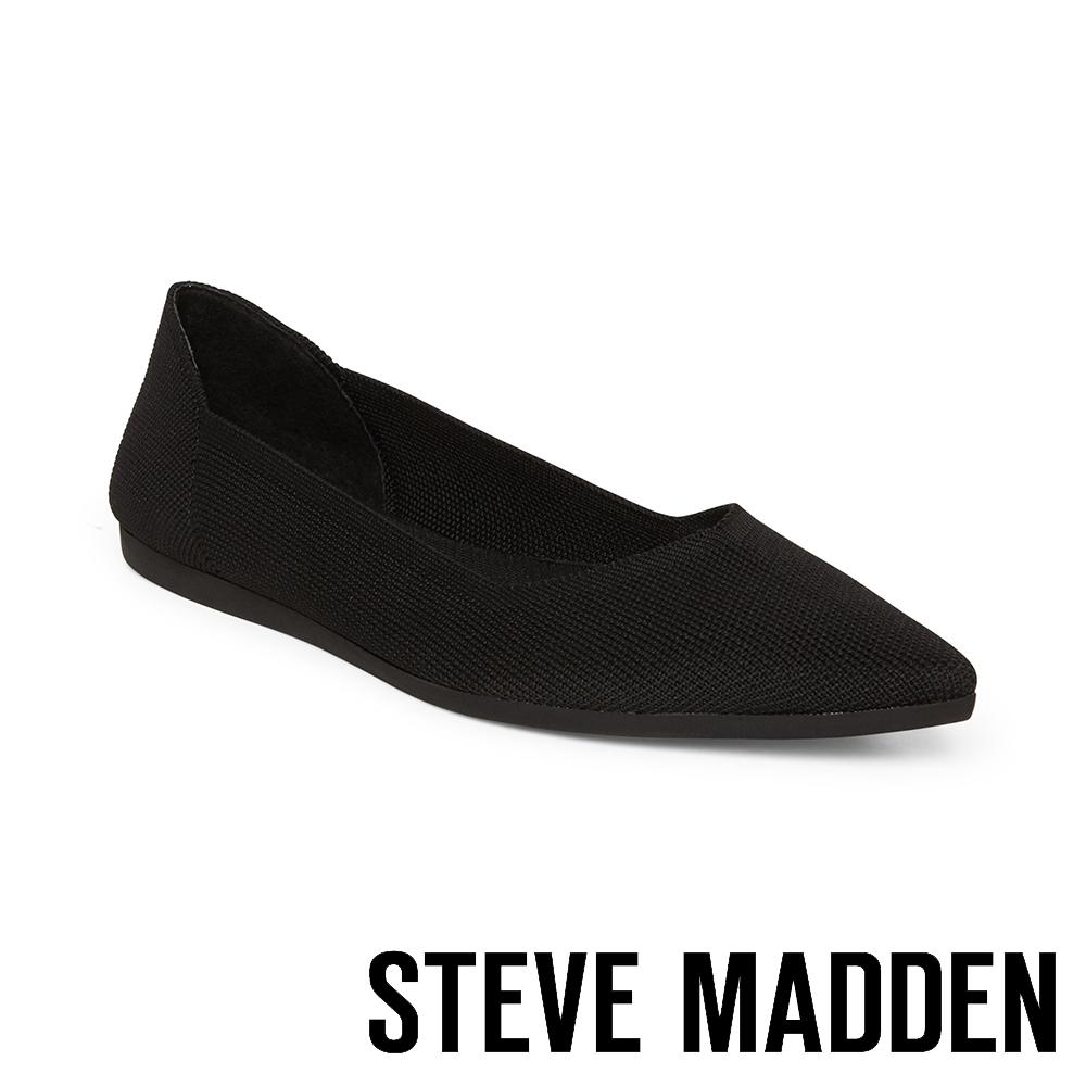 STEVE MADDEN-REVA 潮流時尚彈性面料平底鞋-黑色