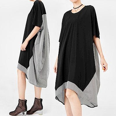 科技薄棉拼接立裁廓型洋裝-(共二色)Andstyle