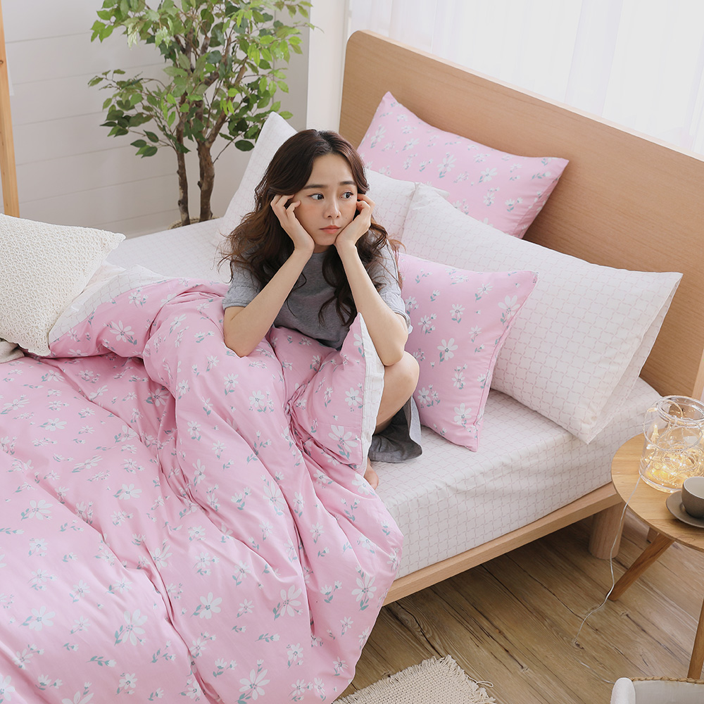 GOODDAY-小花-100%純棉-兩用被床包組(粉-加大)