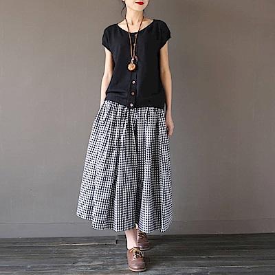 La Belleza鬆緊腰黑色抽繩色格子側口袋闊腿寬褲褲裙