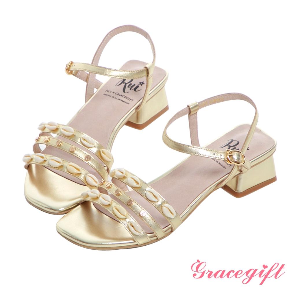 Grace gift X Rui-聯名全真皮貝殼細帶中跟涼鞋 淺金