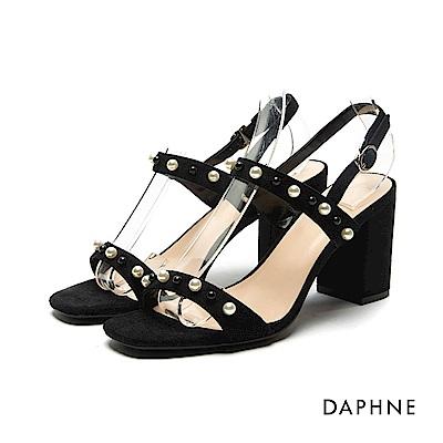 達芙妮DAPHNE 涼鞋-雙色珠飾珍珠一字粗高跟涼鞋-黑