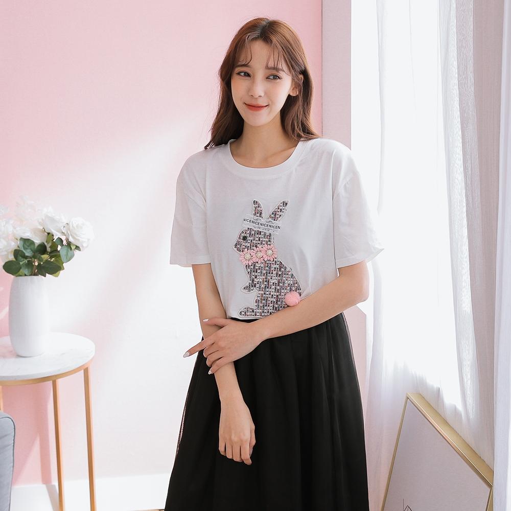 SUPER COLOR 韓版修身立體編織兔短袖棉質上衣-白色
