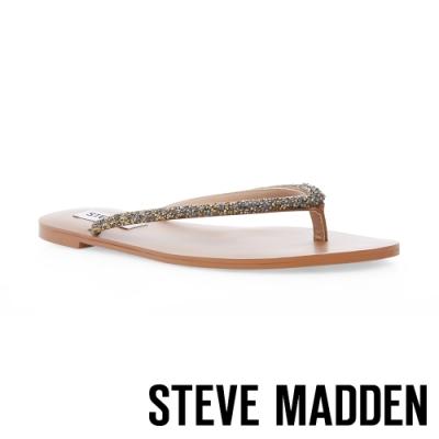 STEVE MADDEN-SIMPLICITY 閃耀夾腳平底拖鞋-鐵棕