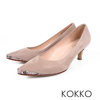 KOKKO - 生活在他方素面拼接尖頭中跟鞋-細膩灰