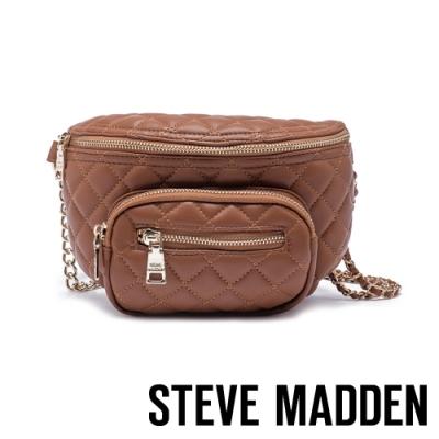 STEVE MADDEN-BSUBMIT 低調內斂金屬鍊條菱格母子個性腰包-咖啡色