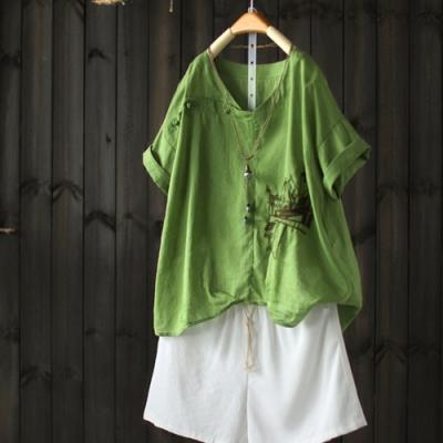 牛油果綠國風盤扣苧麻T恤棉麻刺繡上衣-設計所在