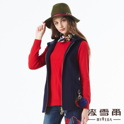 【麥雪爾】羊毛立體打摺毛球裝飾連帽背心