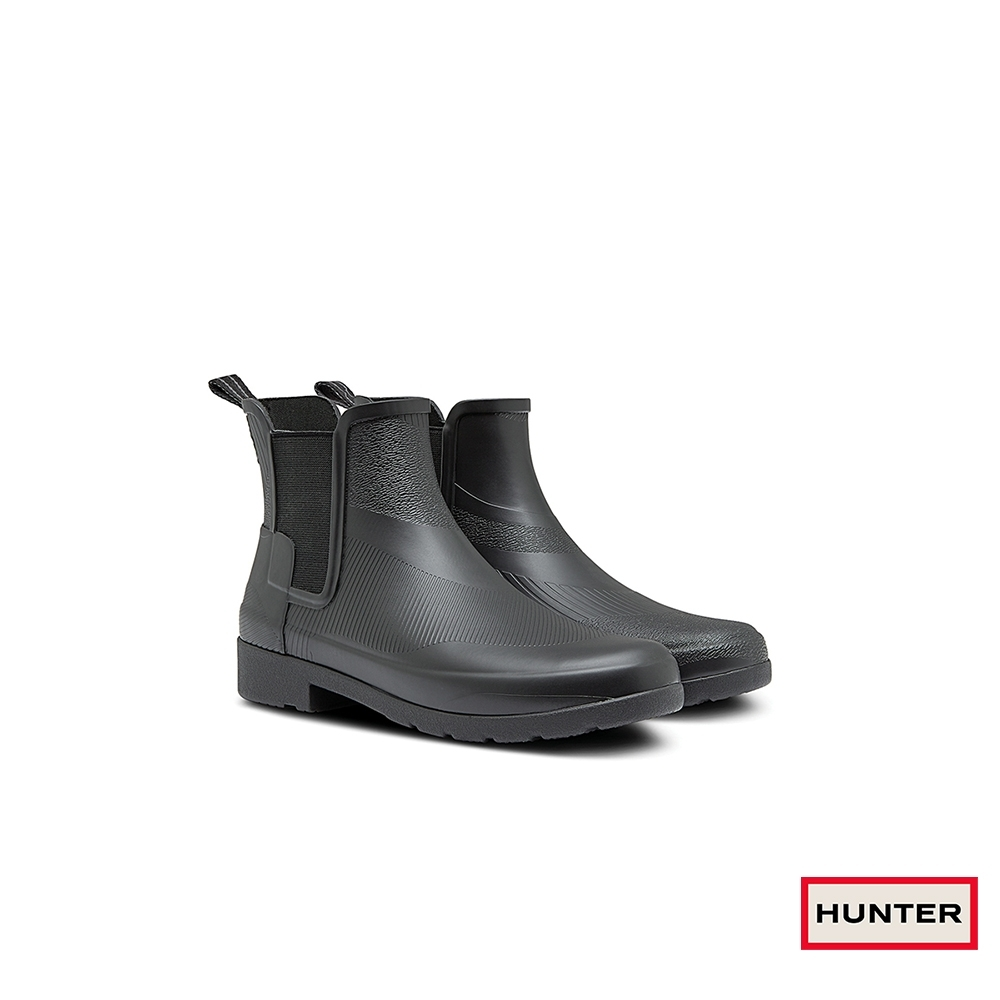 HUNTER - 女鞋-Refined波紋切爾西踝靴 - 黑