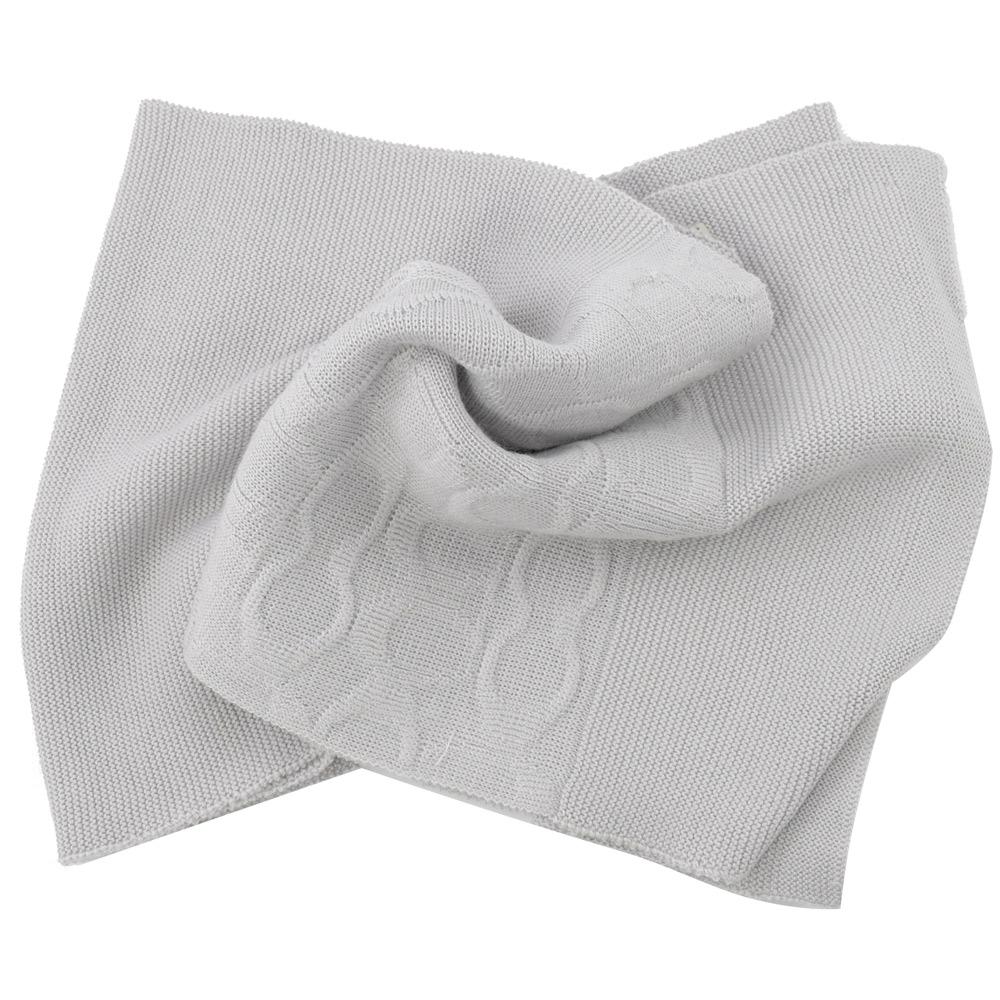 COACH經典C LOGO針織羊毛圍巾(灰白)COACH