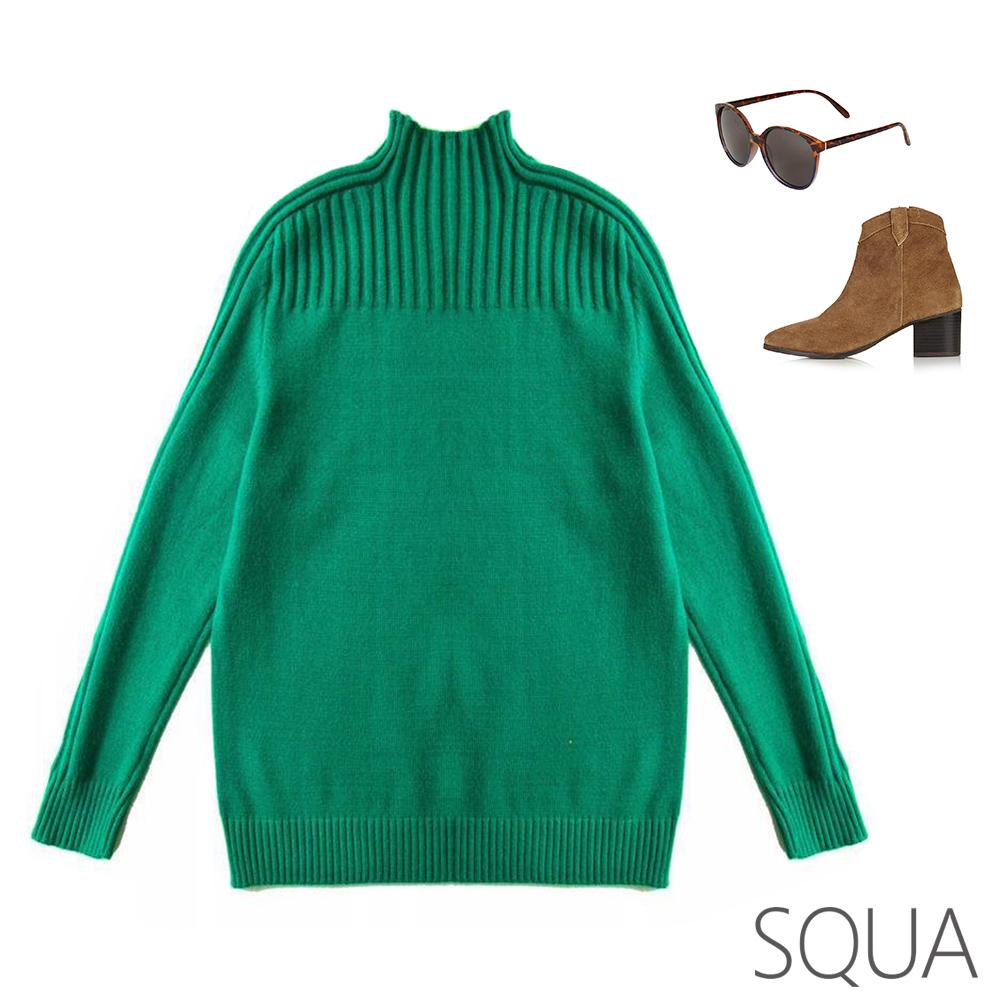 SQUA 不規則坑條高領針織上衣-三色