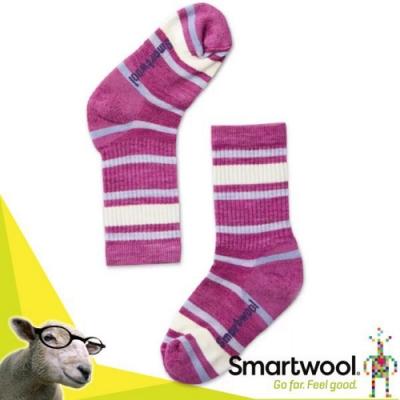 美國 SmartWool 美麗諾羊毛 孩童健行輕量避震條紋中長襪(2入)_粉霧紫