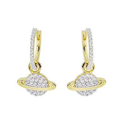 apm MONACO法國精品珠寶 閃耀金色星球造型耳針式耳環