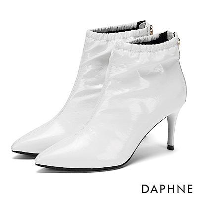 達芙妮DAPHNE 短靴-漆面鬆緊筒圍後拉鏈中跟短靴-白