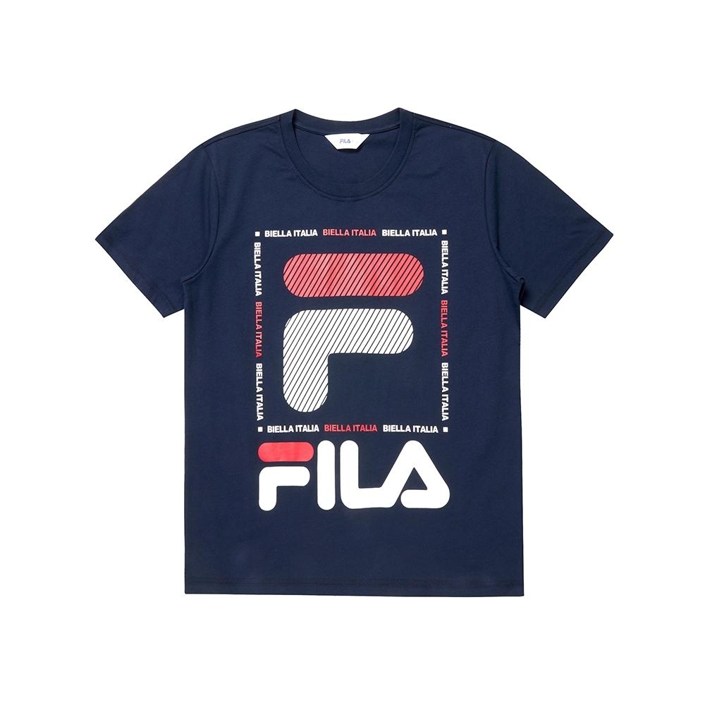 FILA 男圓領T恤(合身版)-丈青 1TEU-1526-NV