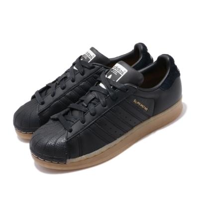adidas 休閒鞋 Superstar W 復古 低筒 女鞋 海外限定 愛迪達 三葉草 貝殼頭 穿搭 黑 金 B37148
