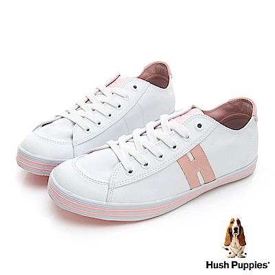 Hush Puppies 學院風皮質咖啡紗休閒鞋-白/粉紅