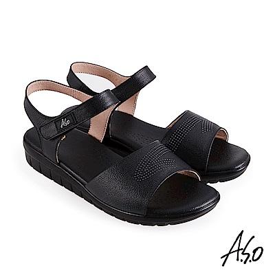 A.S.O 機能休閒 挺麗氣墊牛皮沖孔休閒涼鞋-黑