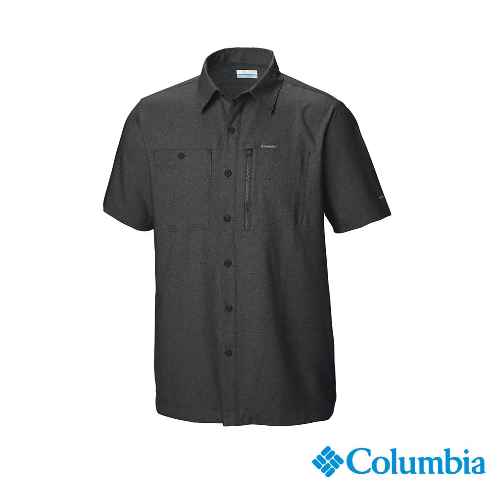 Columbia 哥倫比亞男款-UPF50快排短袖襯衫-深灰 UAE06550DY