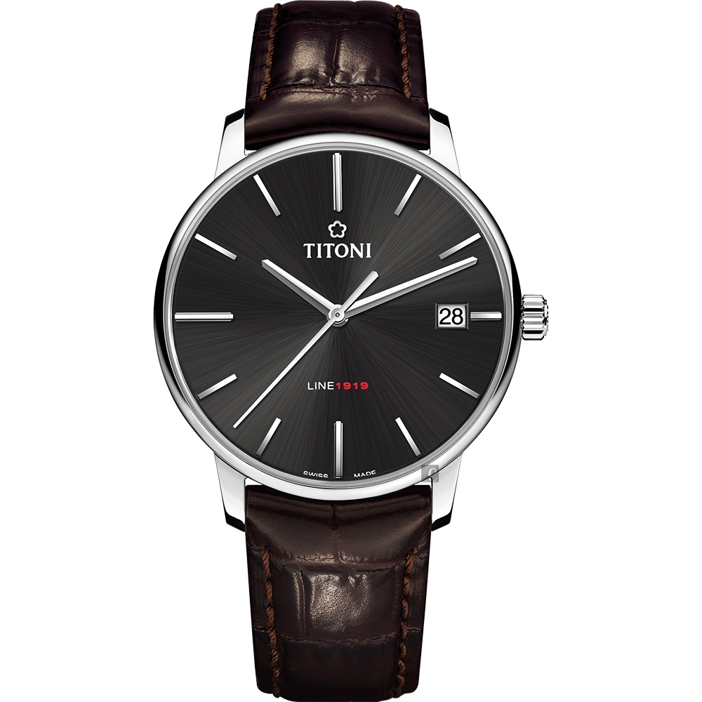 TITONI 梅花錶 LINE1919 百年紀念 T10 機械錶-炭黑x咖啡錶帶/40mm