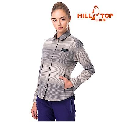 【hilltop山頂鳥】女款ThermoTech保暖長袖襯衫C05F21褐卡其