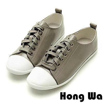 Hong Wa休閒俏皮鏡面漆皮綁帶便鞋-低調灰