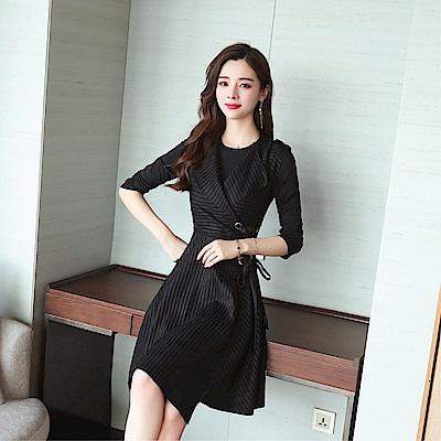 DABI 韓國風時尚背心裙顯瘦修身背帶裙單品無袖洋裝