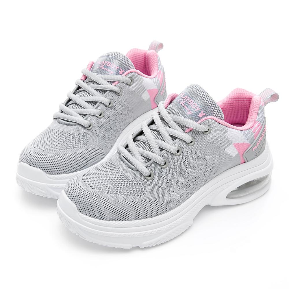 PLAYBOY 氣墊彩織輕量運動鞋-灰粉-Y528329