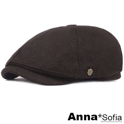 AnnaSofia 毛料感小銅飾 報童帽鴨舌帽貝蕾帽(深咖系)