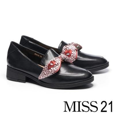 低跟鞋 MISS 21 經典質感印花緞帶馬銜釦樂福低跟鞋-黑